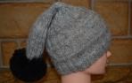 Pilka alpakos vilnos kepurė