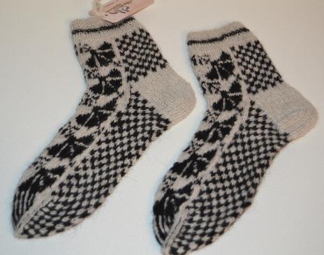 Raštuotos kojinės iš alpakos vilnos