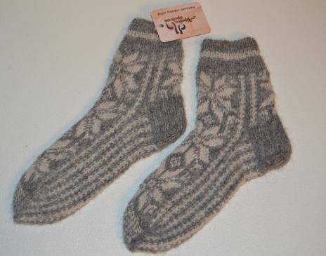 Raštuotos alpakos vilnos kojinės