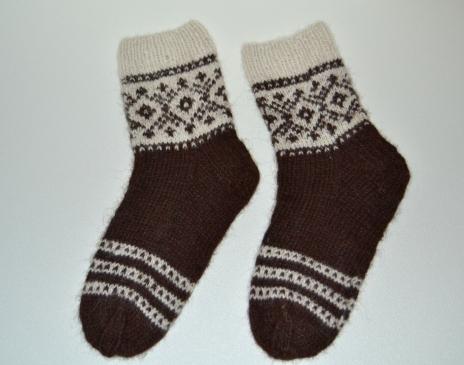 Raštuotos storos kojinės iš alpakos vilnos