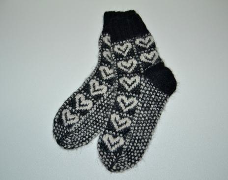 Alpakos vilnos kojinės su širdelėm