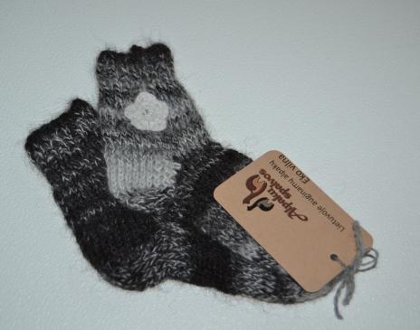 Linksmos kojinytės iš melanžinių alpakos vilnos siūlų