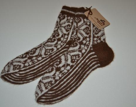 Margintos kojinės iš alpakos vilnos