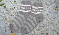Dryžuotos alpakos vilnos kojinės