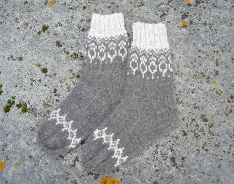 Pilkos kojinės iš alpakos vilnos