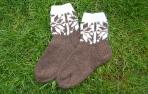 Rudos kojinės iš alpakų vilnos