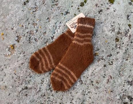Dryžuotos kojinės iš alpakos vilnos