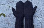 Juodos alpakos vilnos pirštinės